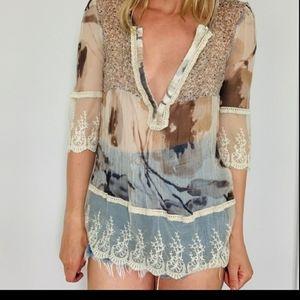 Sundance silk peasant blouse cottage core petite M